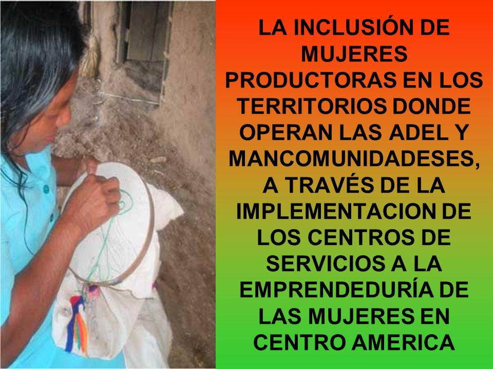 LA INCLUSIÓN DE MUJERES PRODUCTORAS EN LOS TERRITORIOS DONDE OPERAN LAS ADEL Y MANCOMUNIDADESES, A TRAVÉS DE LA IMPLEMENTACION DE LOS CENTROS DE SERVI