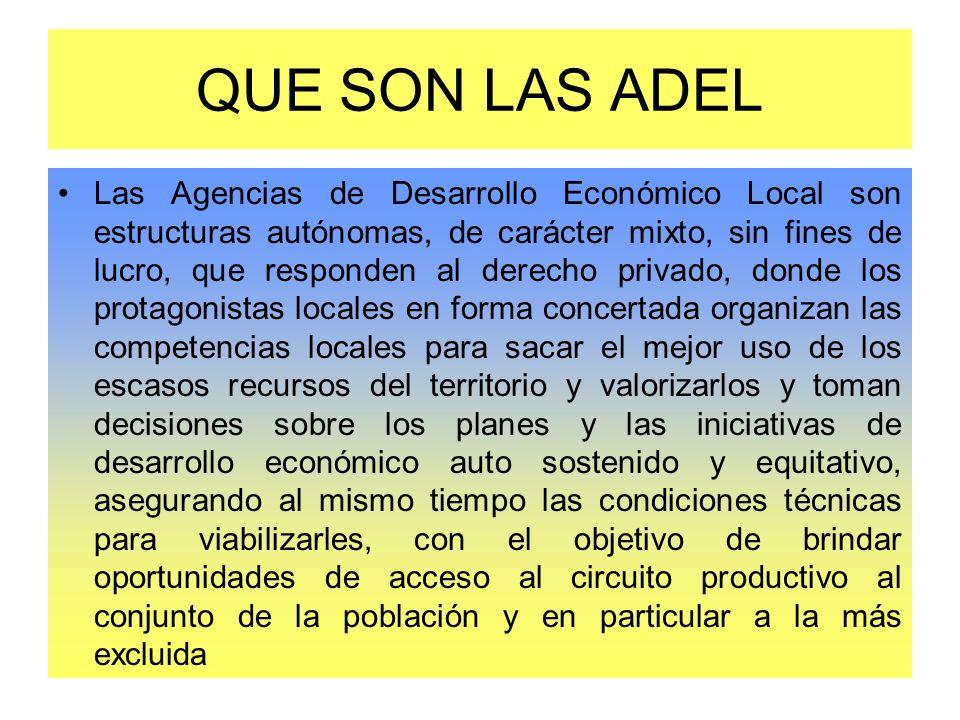 QUE SON LAS ADEL Las Agencias de Desarrollo Económico Local son estructuras autónomas, de carácter mixto, sin fines de lucro, que responden al derecho