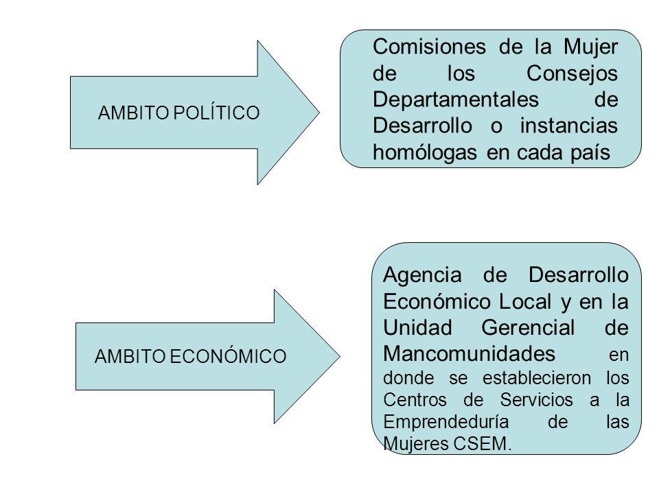 AMBITO POLÍTICO AMBITO ECONÓMICO Comisiones de la Mujer de los Consejos Departamentales de Desarrollo o instancias homólogas en cada país Agencia de D