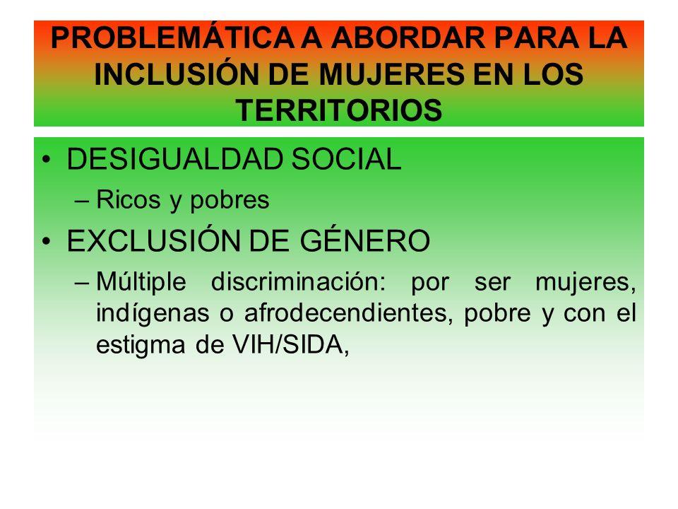 PROBLEMÁTICA A ABORDAR PARA LA INCLUSIÓN DE MUJERES EN LOS TERRITORIOS DESIGUALDAD SOCIAL –Ricos y pobres EXCLUSIÓN DE GÉNERO –Múltiple discriminación