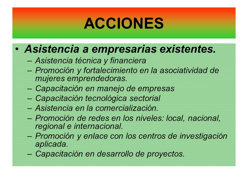 ACCIONES Asistencia a empresarias existentes. –Asistencia técnica y financiera –Promoción y fortalecimiento en la asociatividad de mujeres emprendedor