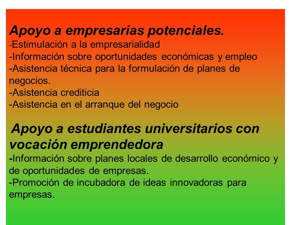 Apoyo a empresarias potenciales. - Estimulación a la empresarialidad -Información sobre oportunidades económicas y empleo -Asistencia técnica para la