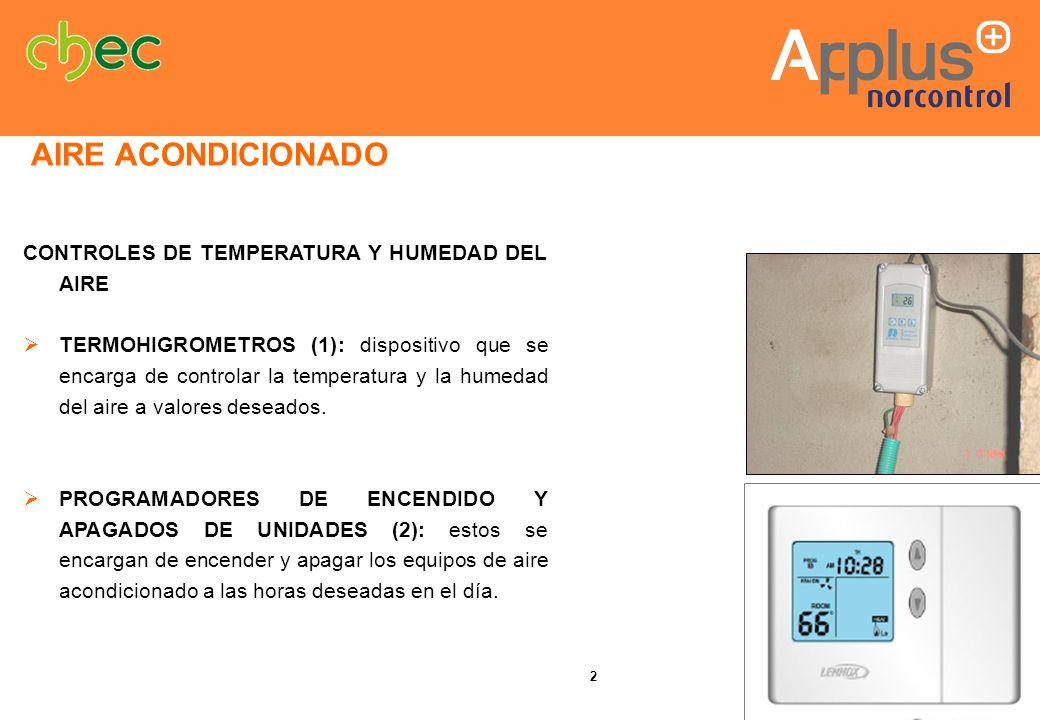 CONTROLES DE TEMPERATURA Y HUMEDAD DEL AIRE TERMOHIGROMETROS (1): dispositivo que se encarga de controlar la temperatura y la humedad del aire a valor