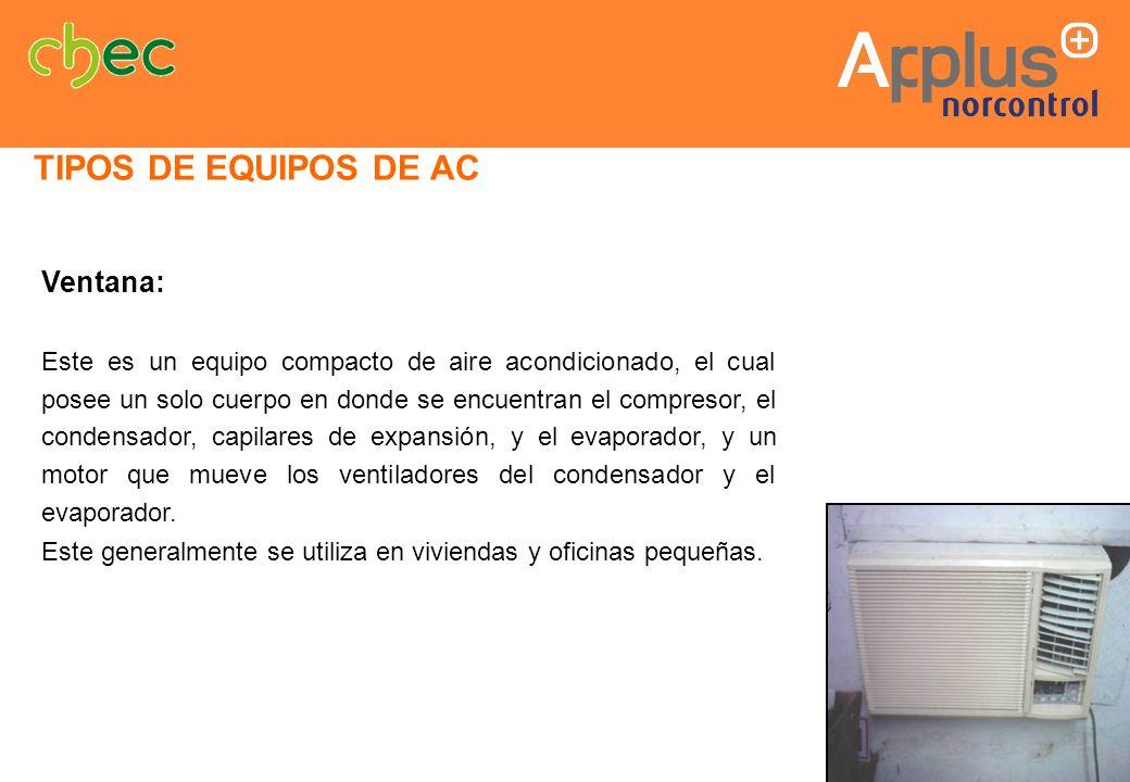 Ventana: Este es un equipo compacto de aire acondicionado, el cual posee un solo cuerpo en donde se encuentran el compresor, el condensador, capilares