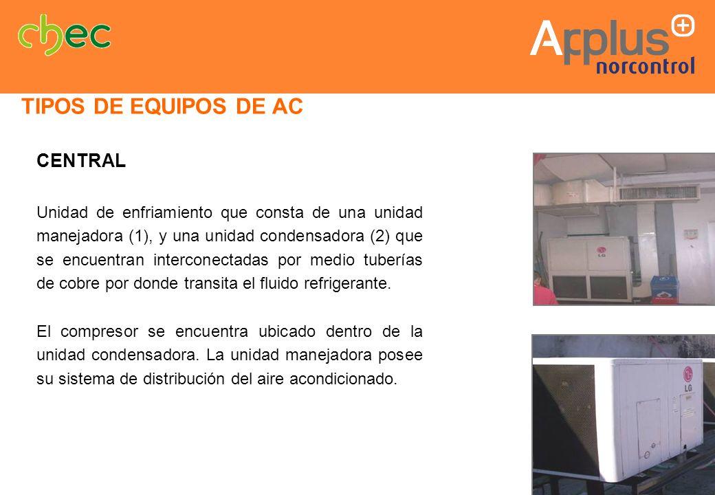 CENTRAL Unidad de enfriamiento que consta de una unidad manejadora (1), y una unidad condensadora (2) que se encuentran interconectadas por medio tube