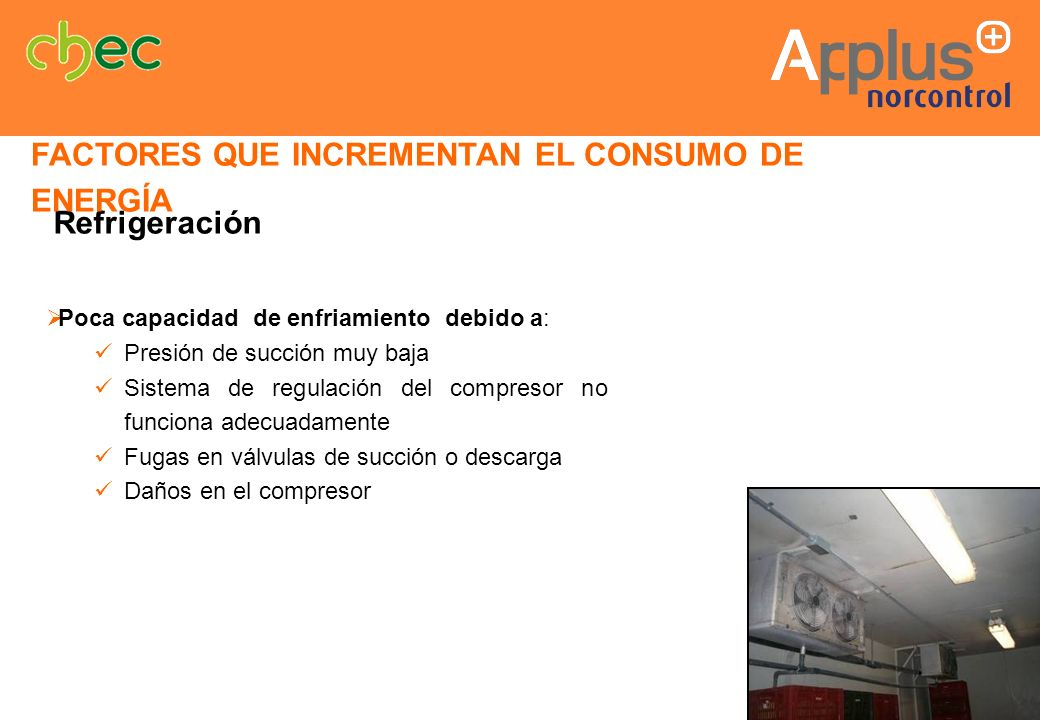 Poca capacidad de enfriamiento debido a: Presión de succión muy baja Sistema de regulación del compresor no funciona adecuadamente Fugas en válvulas d