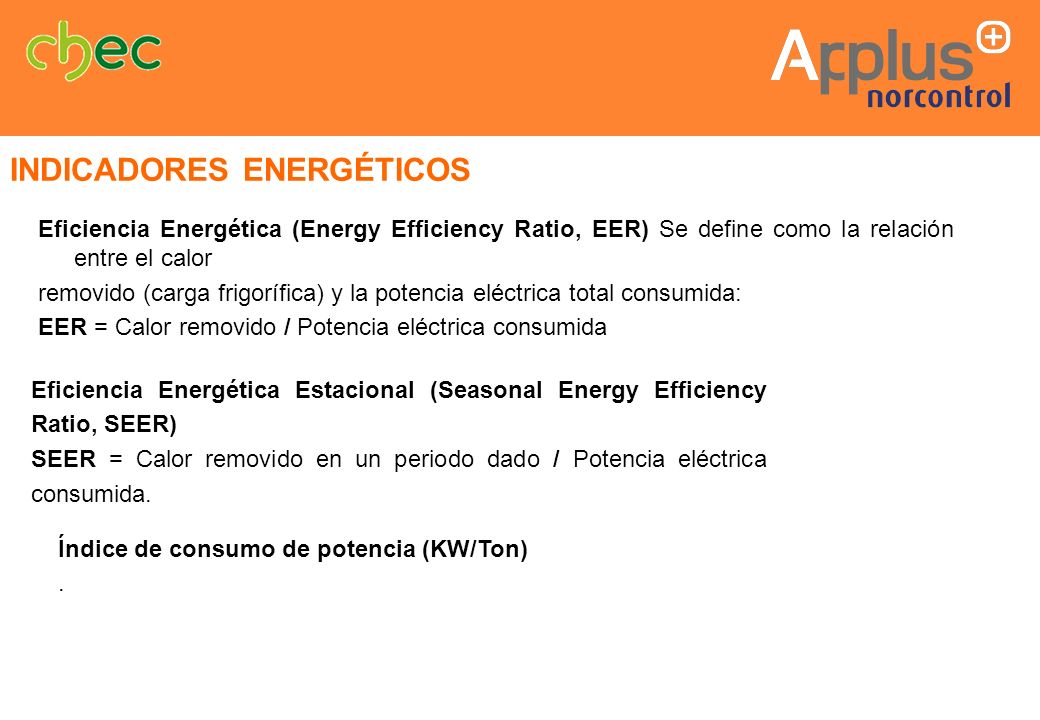 Eficiencia Energética (Energy Efficiency Ratio, EER) Se define como la relación entre el calor removido (carga frigorífica) y la potencia eléctrica to