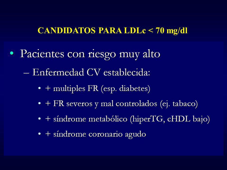 CANDIDATOS PARA LDLc < 70 mg/dl