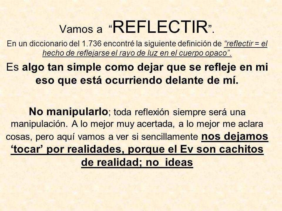 Vamos a REFLECTIR. En un diccionario del 1.736 encontré la siguiente definición de reflectir = el hecho de reflejarse el rayo de luz en el cuerpo opac