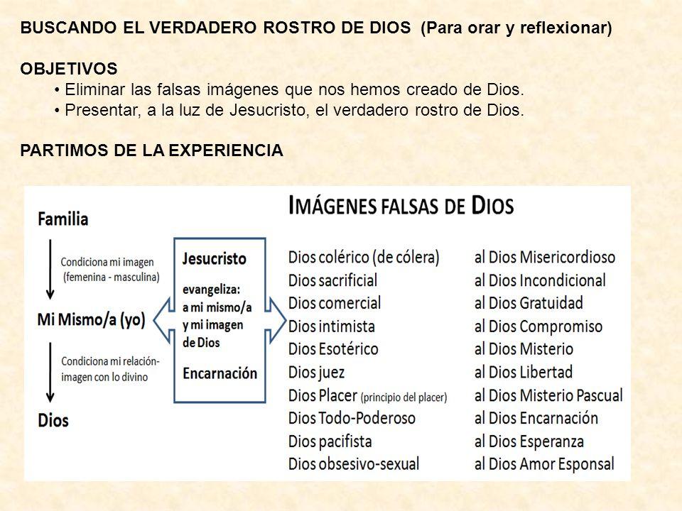 BUSCANDO EL VERDADERO ROSTRO DE DIOS (Para orar y reflexionar) OBJETIVOS Eliminar las falsas imágenes que nos hemos creado de Dios. Presentar, a la lu