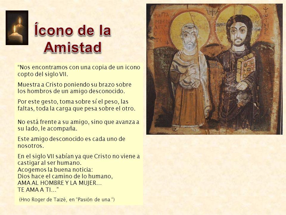 Nos encontramos con una copia de un icono copto del siglo VII. Muestra a Cristo poniendo su brazo sobre los hombros de un amigo desconocido. Por este