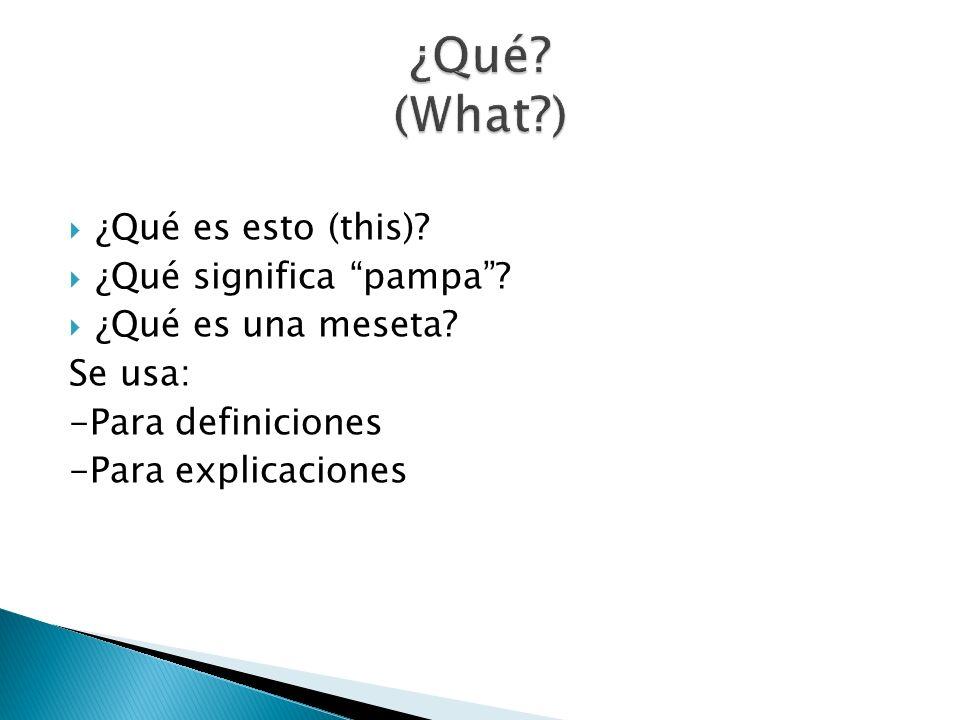 ¿Qué es esto (this)? ¿Qué significa pampa? ¿Qué es una meseta? Se usa: -Para definiciones -Para explicaciones