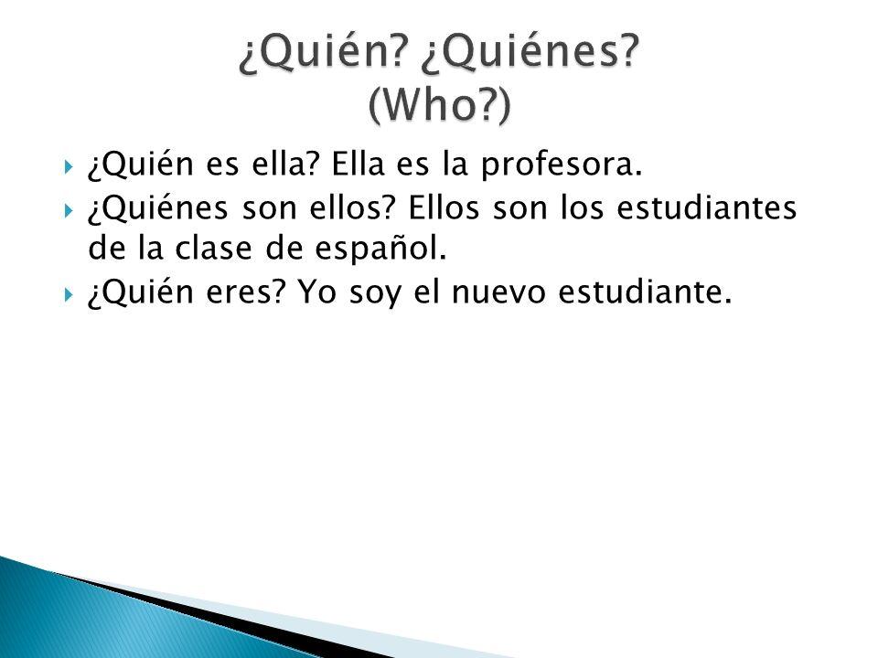 ¿Quién es ella? Ella es la profesora. ¿Quiénes son ellos? Ellos son los estudiantes de la clase de español. ¿Quién eres? Yo soy el nuevo estudiante.