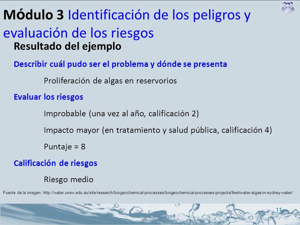 M ó dulo 3 Identificación de los peligros y evaluación de los riesgos Resultado del ejemplo Describir cuál pudo ser el problema y dónde se presenta Pr