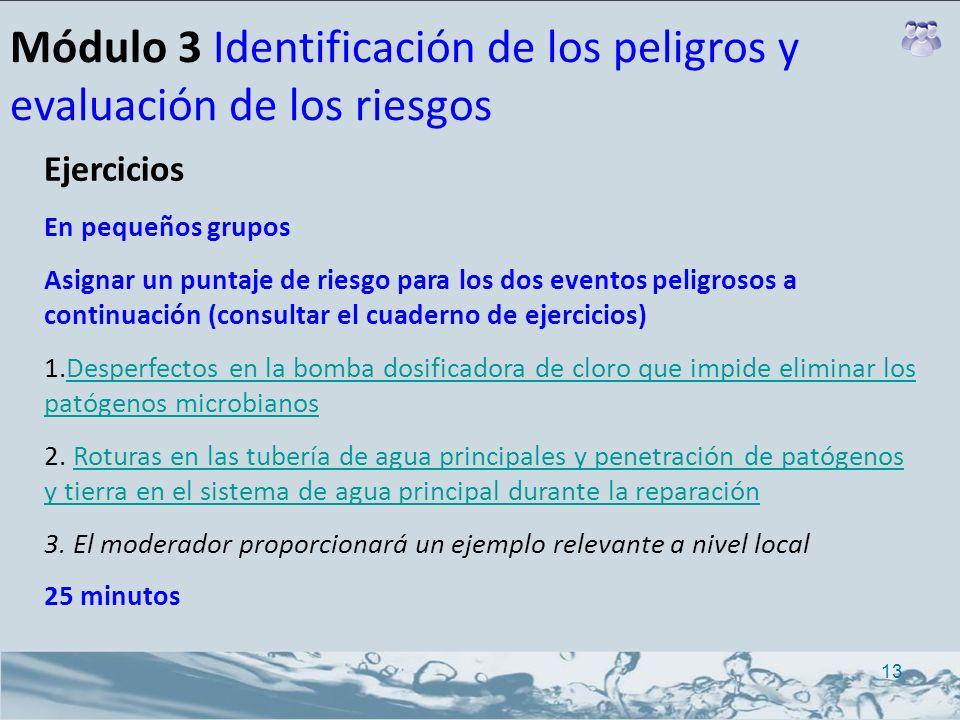Módulo 3 Identificación de los peligros y evaluación de los riesgos Ejercicios En pequeños grupos Asignar un puntaje de riesgo para los dos eventos pe