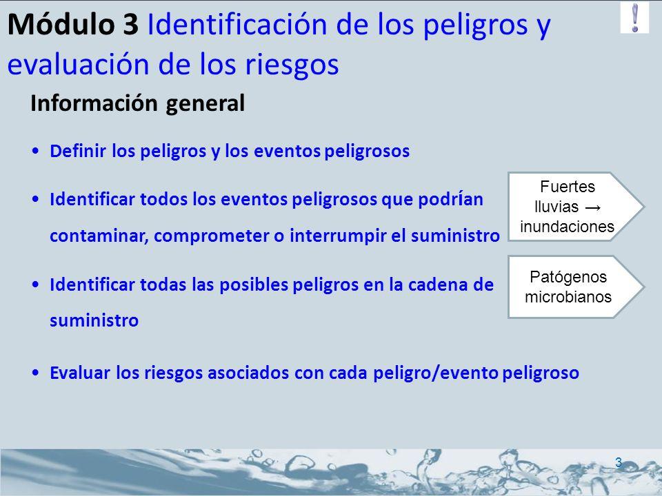 Módulo 3 Identificación de los peligros y evaluación de los riesgos Ejemplo de definición: Las fuertes lluvias (eventos peligrosos) pueden promover el ingreso de patógenos microbianos (peligros) en la fuente de agua 4 EventoPeligroFuente de agua Lluvia