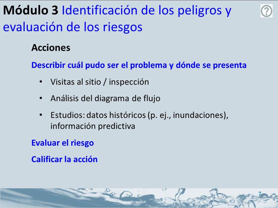 Módulo 3 Identificación de los peligros y evaluación de los riesgos Acciones Describir cuál pudo ser el problema y dónde se presenta Evaluar el riesgo Enfoque cualitativo Enfoque semi-cuantativo (probabilidad y matriz de consecuencias) Calificar las acciones 8