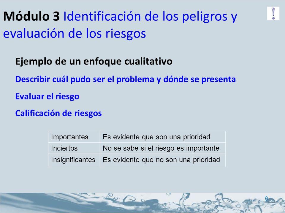 Módulo 3 Identificación de los peligros y evaluación de los riesgos Ejemplo de un enfoque semi-cuantitativo Describir cuál pudo ser el problema y dónde se presenta Evaluar el riesgo Calificación de riesgos 10