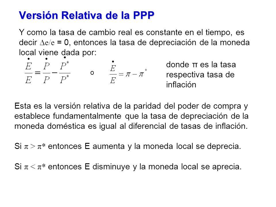 Versión Relativa de la PPP Y como la tasa de cambio real es constante en el tiempo, es decir e/e = 0, entonces la tasa de depreciación de la moneda local viene dada por: o donde π es la tasa respectiva tasa de inflación Esta es la versión relativa de la paridad del poder de compra y establece fundamentalmente que la tasa de depreciación de la moneda doméstica es igual al diferencial de tasas de inflación.