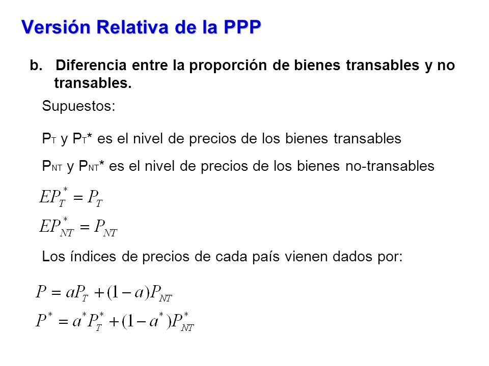 Versión Relativa de la PPP b. Diferencia entre la proporción de bienes transables y no transables. Supuestos: P T y P T * es el nivel de precios de lo