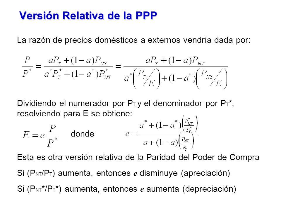 Versión Relativa de la PPP La razón de precios domésticos a externos vendría dada por: Dividiendo el numerador por P T y el denominador por P T *, resolviendo para E se obtiene: donde Esta es otra versión relativa de la Paridad del Poder de Compra Si (P NT /P T ) aumenta, entonces e disminuye (apreciación) Si (P NT */P T *) aumenta, entonces e aumenta (depreciación)