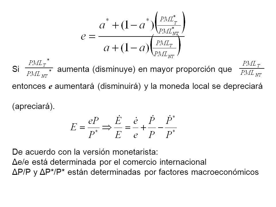 Si aumenta (disminuye) en mayor proporción que entonces e aumentará (disminuirá) y la moneda local se depreciará (apreciará).