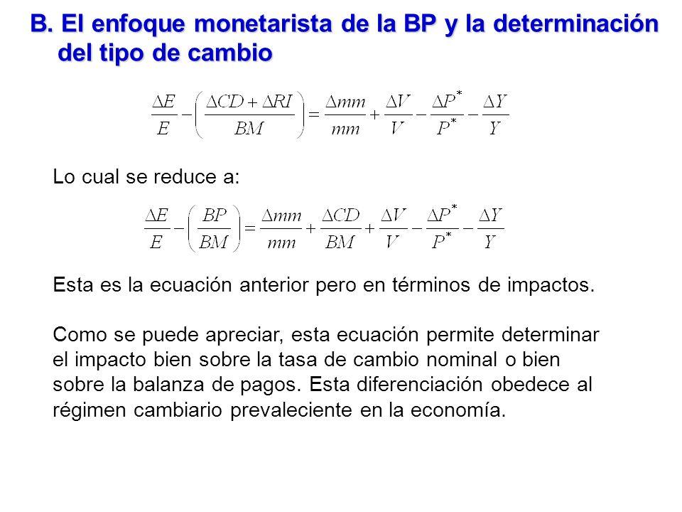 B. El enfoque monetarista de la BP y la determinación del tipo de cambio Lo cual se reduce a: Esta es la ecuación anterior pero en términos de impacto