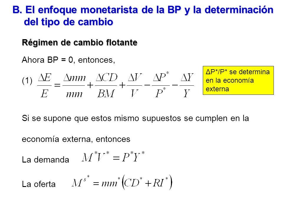 B. El enfoque monetarista de la BP y la determinación del tipo de cambio Régimen de cambio flotante Ahora BP = 0, entonces, (1) Si se supone que estos