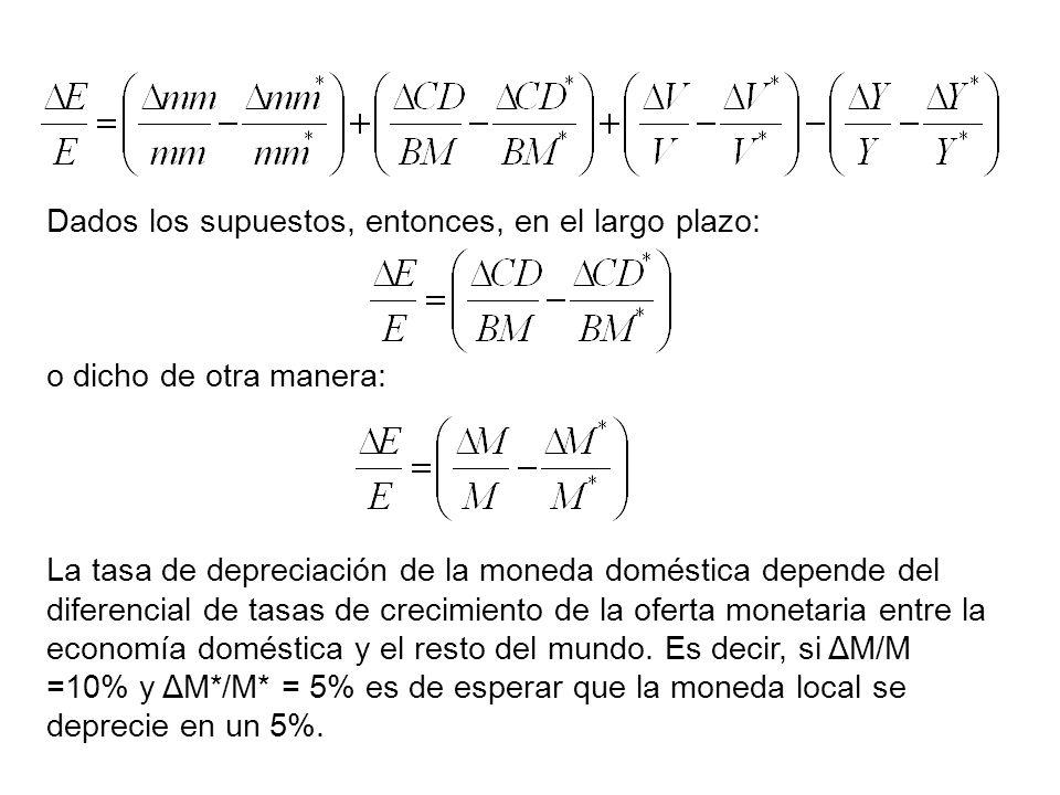 Dados los supuestos, entonces, en el largo plazo: o dicho de otra manera: La tasa de depreciación de la moneda doméstica depende del diferencial de ta