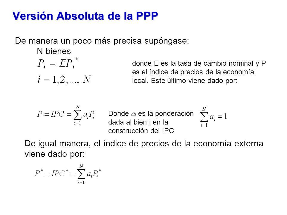 Versión Absoluta de la PPP De manera un poco más precisa supóngase: N bienes De igual manera, el índice de precios de la economía externa viene dado por: donde E es la tasa de cambio nominal y P es el índice de precios de la economía local.