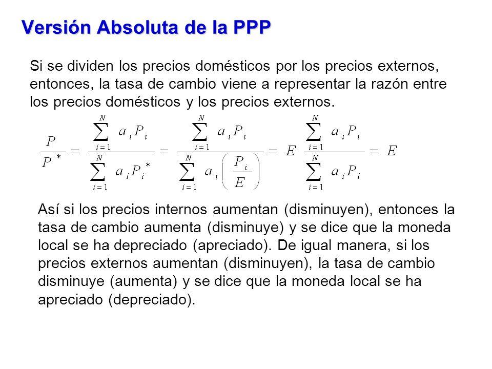 Versión Absoluta de la PPP Si se dividen los precios domésticos por los precios externos, entonces, la tasa de cambio viene a representar la razón entre los precios domésticos y los precios externos.