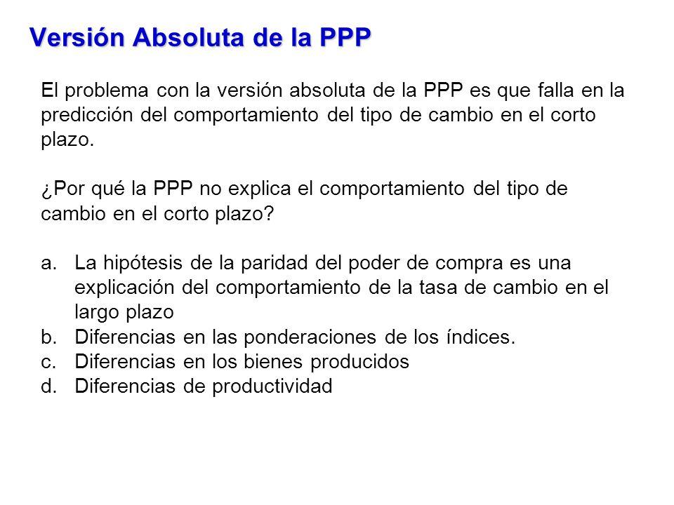 Versión Absoluta de la PPP El problema con la versión absoluta de la PPP es que falla en la predicción del comportamiento del tipo de cambio en el cor