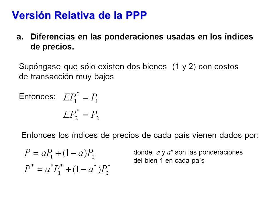 Versión Relativa de la PPP a.Diferencias en las ponderaciones usadas en los índices de precios. Supóngase que sólo existen dos bienes (1 y 2) con cost