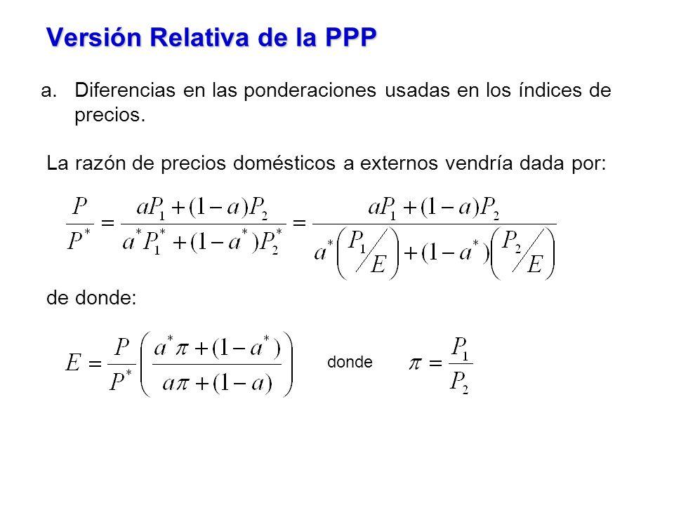 Versión Relativa de la PPP a.Diferencias en las ponderaciones usadas en los índices de precios. La razón de precios domésticos a externos vendría dada