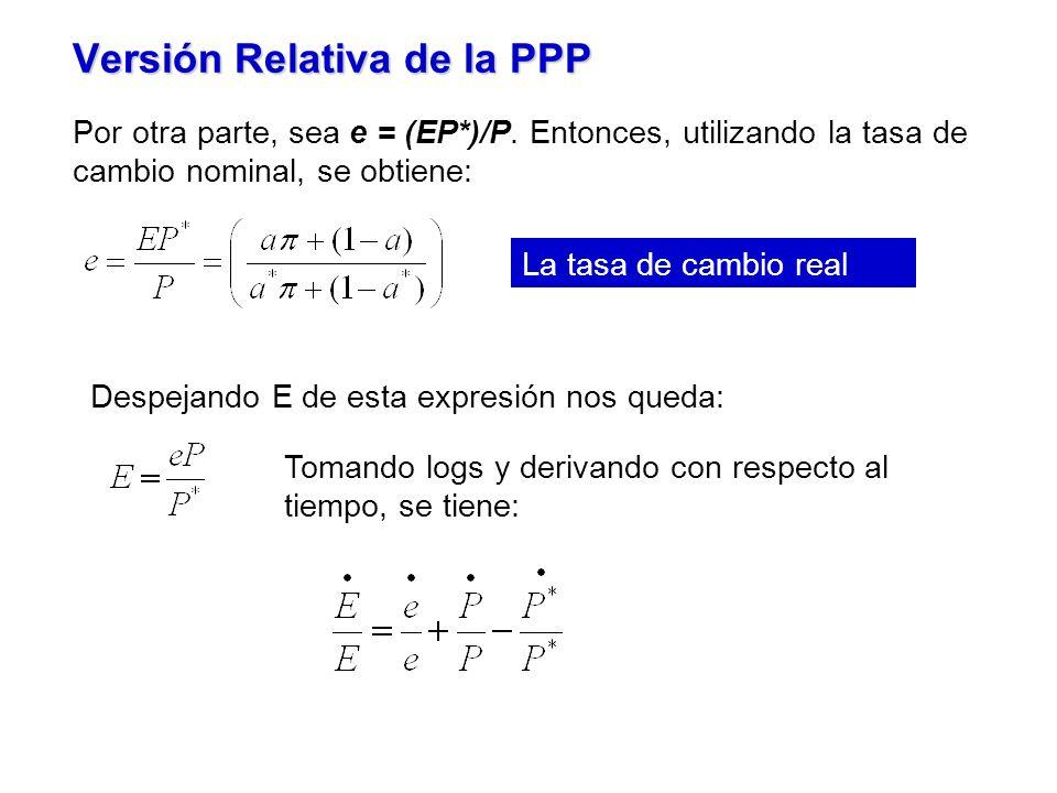 Versión Relativa de la PPP La tasa de cambio real Por otra parte, sea e = (EP*)/P.