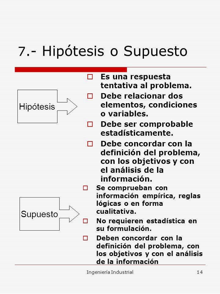 Ingeniería Industrial14 7.- Hipótesis o Supuesto Es una respuesta tentativa al problema. Debe relacionar dos elementos, condiciones o variables. Debe