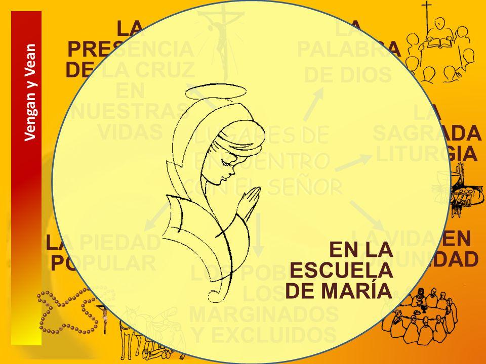 Vengan y Vean LUGARES DE ENCUENTRO CON EL SEÑOR LA PALABRA DE DIOS LA SAGRADA LITURGIA LA VIDA EN COMUNIDAD LOS POBRES, LOS MARGINADOS Y EXCLUIDOS LA PIEDAD POPULAR LA PRESENCIA DE LA CRUZ EN NUESTRAS VIDAS EN LA ESCUELA DE MARÍA
