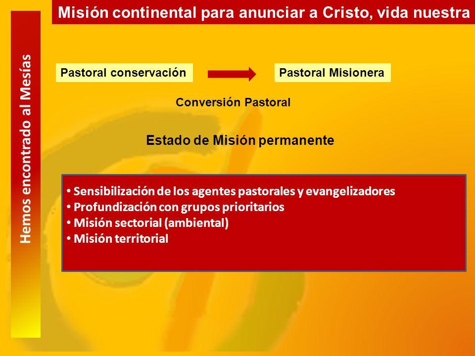 Hemos encontrado al Mesías Misión continental para anunciar a Cristo, vida nuestra Pastoral conservaciónPastoral Misionera Conversión Pastoral Estado de Misión permanente Sensibilización de los agentes pastorales y evangelizadores Profundización con grupos prioritarios Misión sectorial (ambiental) Misión territorial
