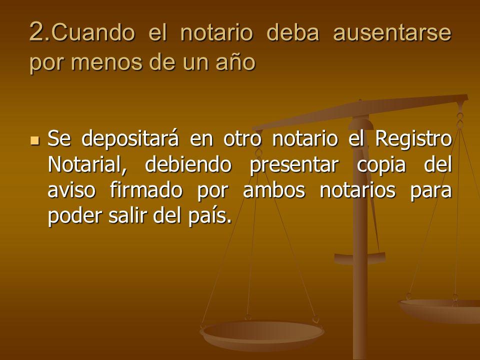 2. Cuando el notario deba ausentarse por menos de un año Se depositará en otro notario el Registro Notarial, debiendo presentar copia del aviso firmad