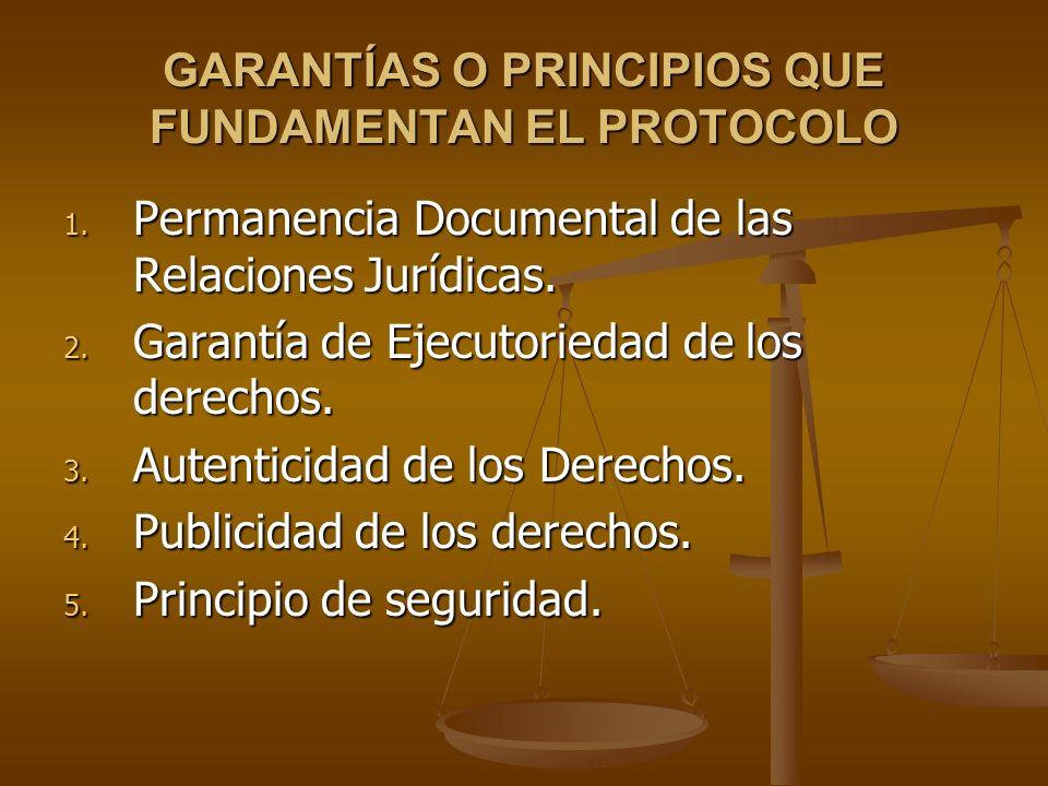 GARANTÍAS O PRINCIPIOS QUE FUNDAMENTAN EL PROTOCOLO 1. Permanencia Documental de las Relaciones Jurídicas. 2. Garantía de Ejecutoriedad de los derecho