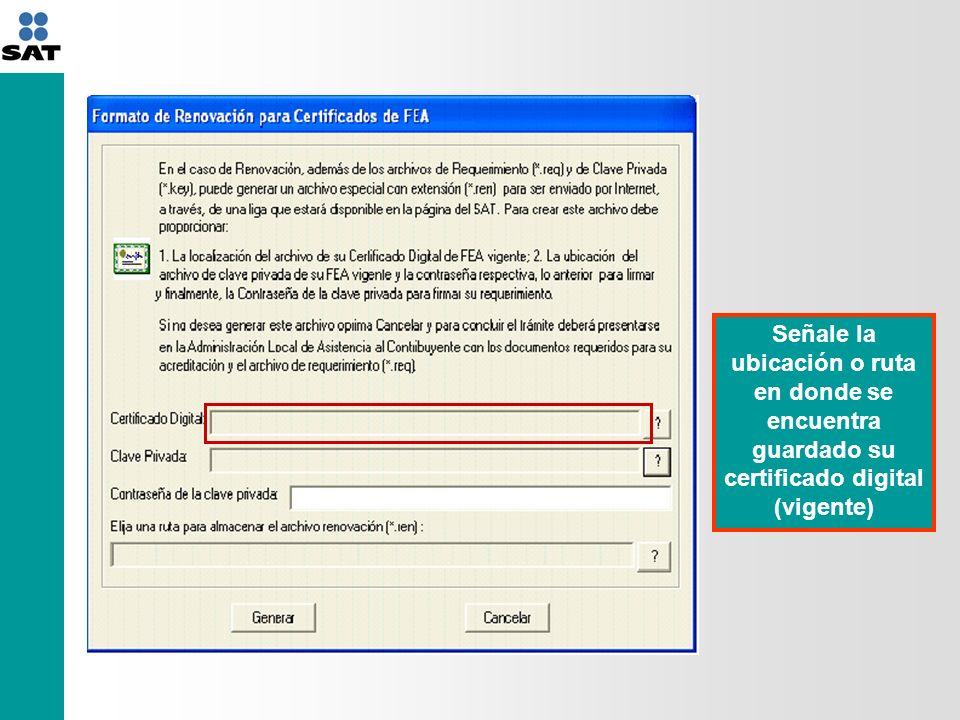 Señale la ubicación o ruta en donde se encuentra guardada su clave privada (vigente) Señale la ruta en donde guardará su archivo *.req y de click en el botón generar contraseña respectiva de la clave privada (vigente) ************