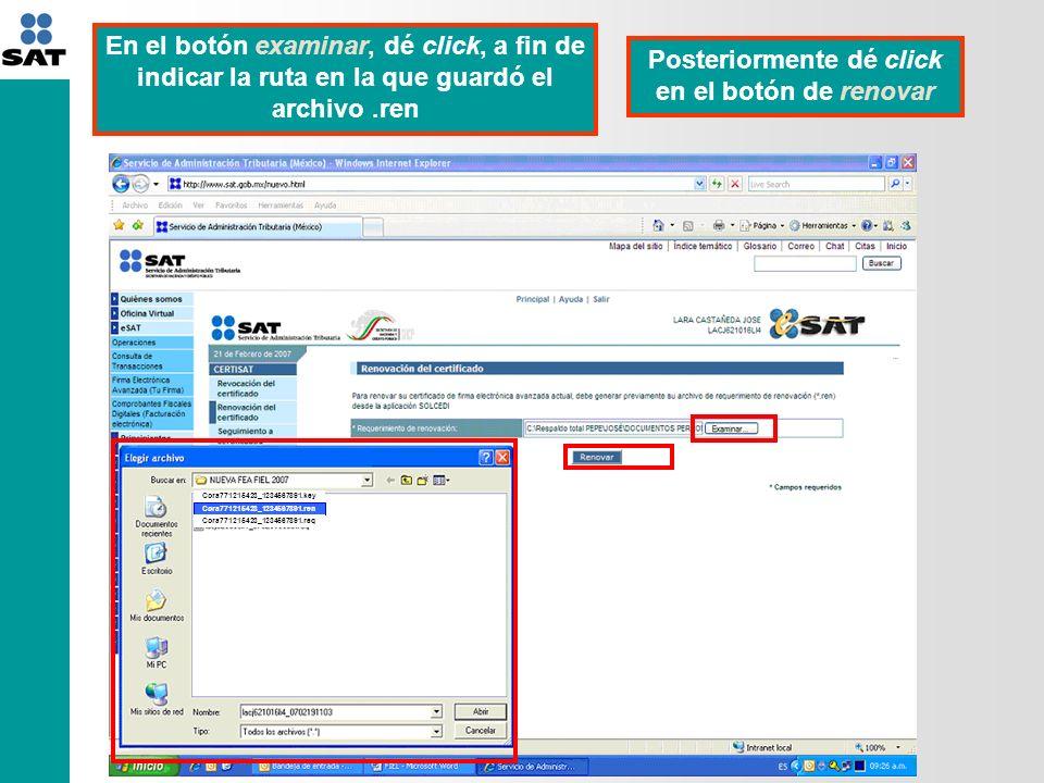 092350037917 Aparecerá un número de operación con el cual fue registrado el envío de Renovación del certificado digital Posteriormente dé click en el botón de seguimiento