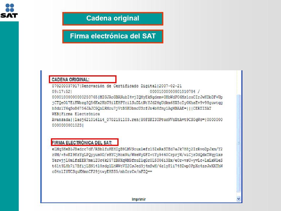 Cadena original Firma electrónica del SAT