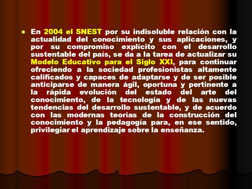 En 2004 el SNEST por su indisoluble relación con la actualidad del conocimiento y sus aplicaciones, y por su compromiso explícito con el desarrollo su