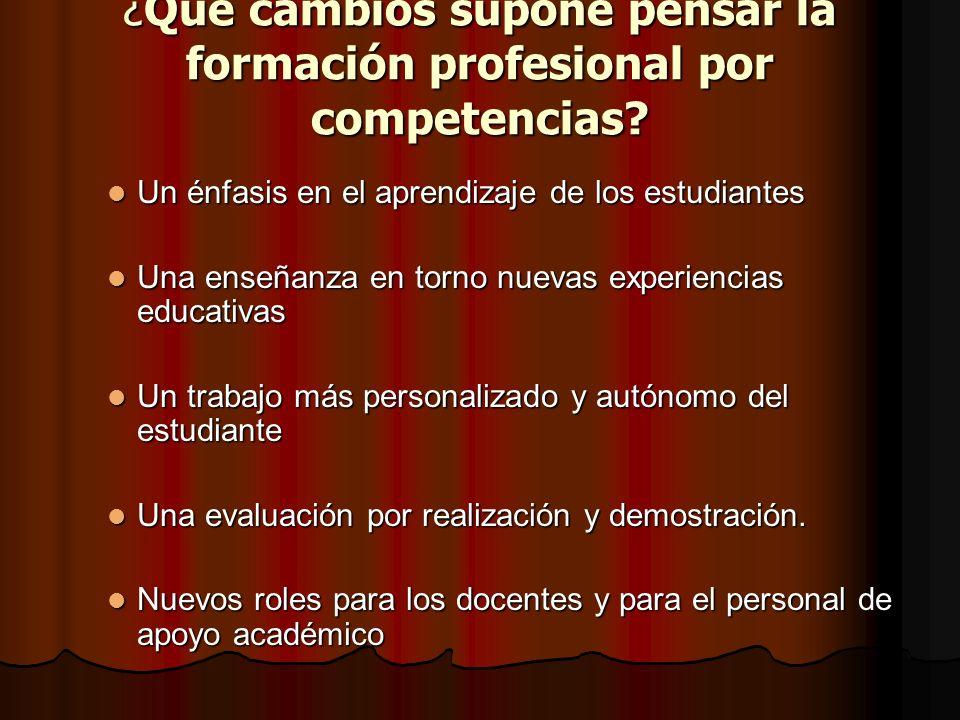 ¿Qué cambios supone pensar la formación profesional por competencias? Un énfasis en el aprendizaje de los estudiantes Un énfasis en el aprendizaje de