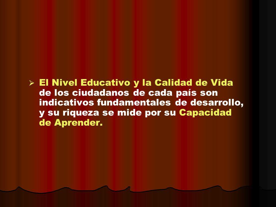 El Nivel Educativo y la Calidad de Vida de los ciudadanos de cada país son indicativos fundamentales de desarrollo, y su riqueza se mide por su Capaci