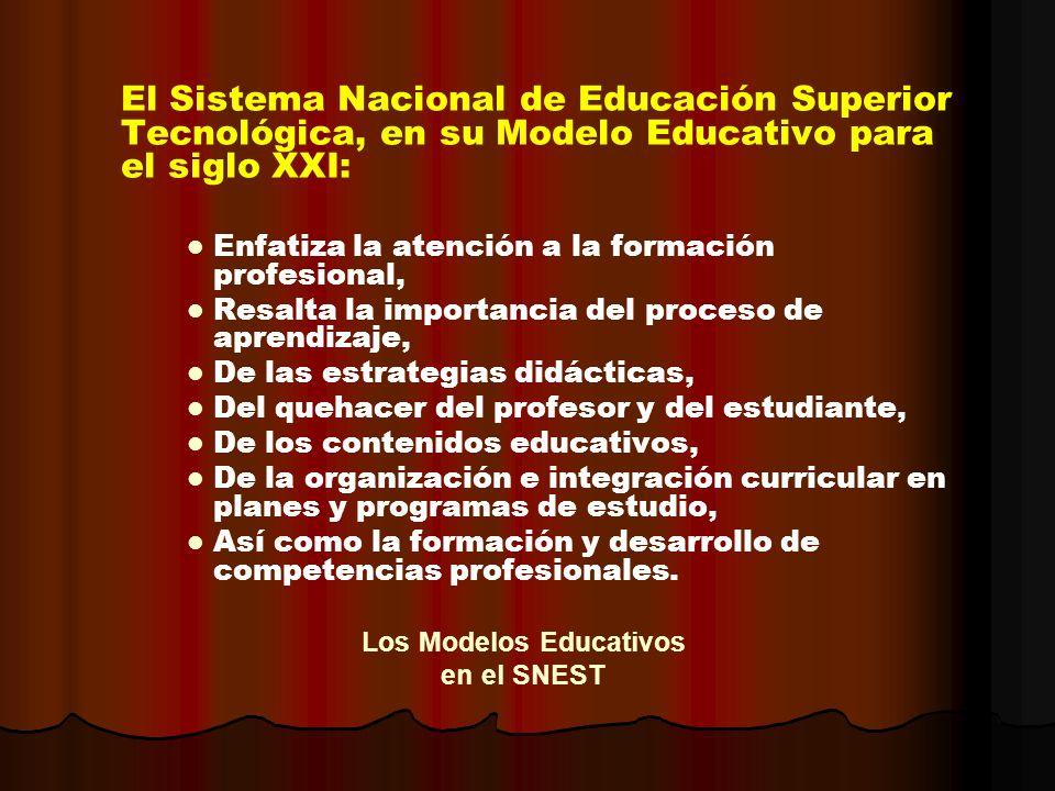 El Sistema Nacional de Educación Superior Tecnológica, en su Modelo Educativo para el siglo XXI: Enfatiza la atención a la formación profesional, Resa