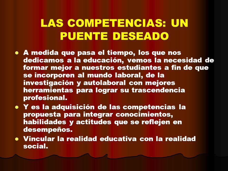 LAS COMPETENCIAS: UN PUENTE DESEADO A medida que pasa el tiempo, los que nos dedicamos a la educación, vemos la necesidad de formar mejor a nuestros e