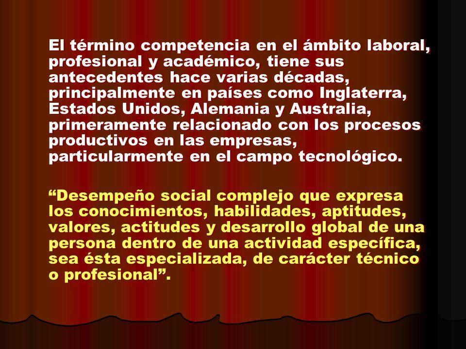El término competencia en el ámbito laboral, profesional y académico, tiene sus antecedentes hace varias décadas, principalmente en países como Inglat