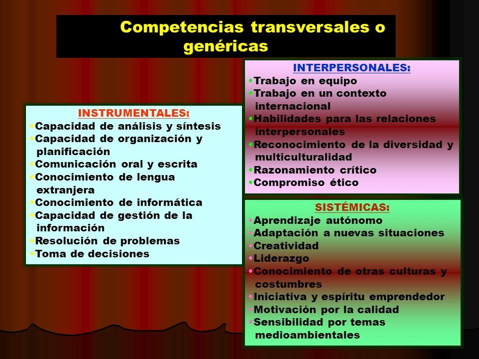 Competencias transversales o genéricas INSTRUMENTALES: Capacidad de análisis y síntesis Capacidad de organización y planificación Comunicación oral y